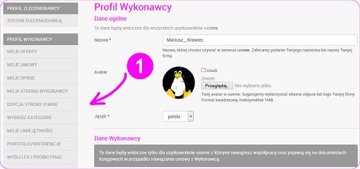 edycja danych w profilu Użytkownika