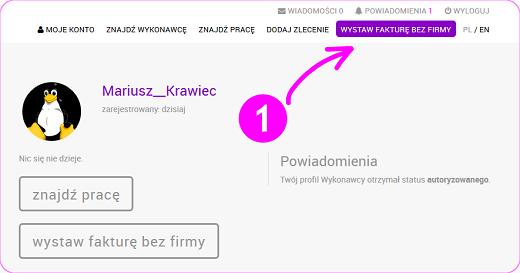 klikniecie przycisku WYSTAW FAKTURĘ