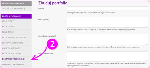 budowanie portfolio i dodawanie referencji