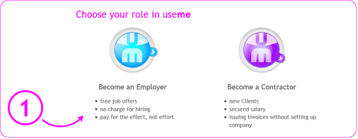 choosing the BECOME AN EMPLOYER button