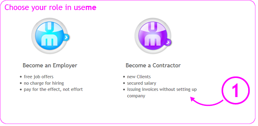 choosing the BECOME A CONTRACTOR button