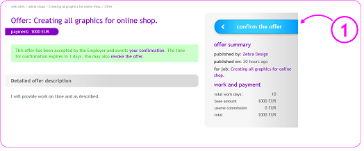 confirmation of taking the work order