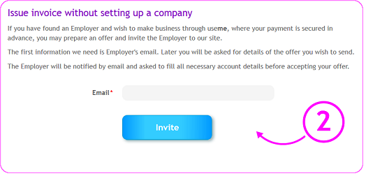 inviting Employer by entering his e-mial